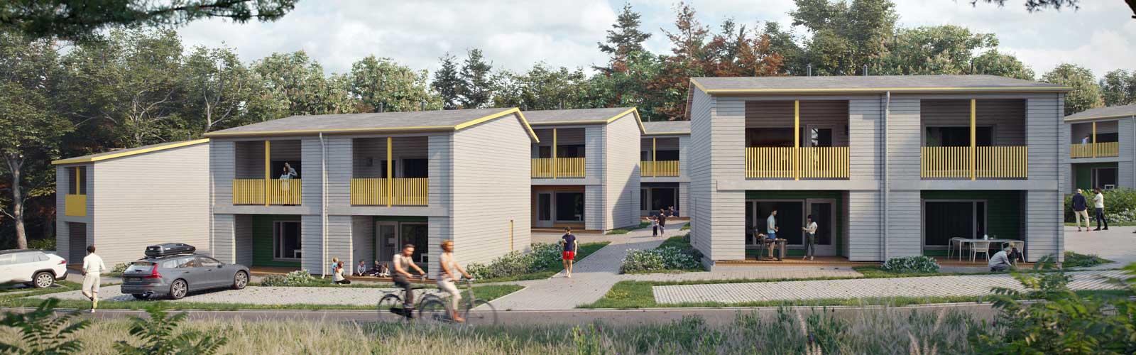 Visualisointi rakennettavista puurakenteisista pientaloista puurakentaminen aluerakentaminen.